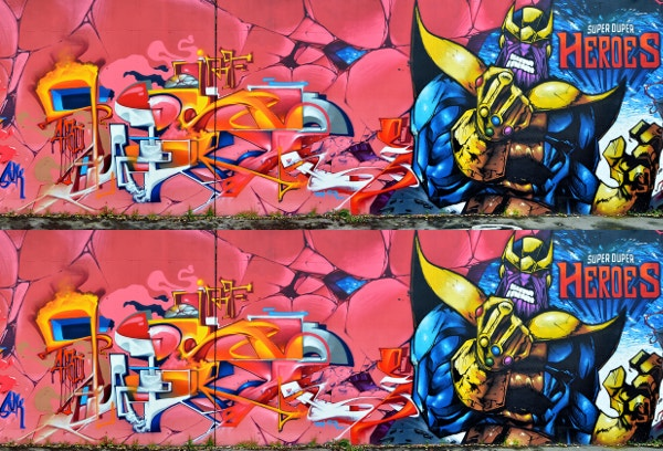 Super Heroes 3D Graffiti Artwork