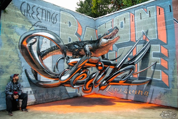 Anamorphic 3D Graffiti Street Artwork