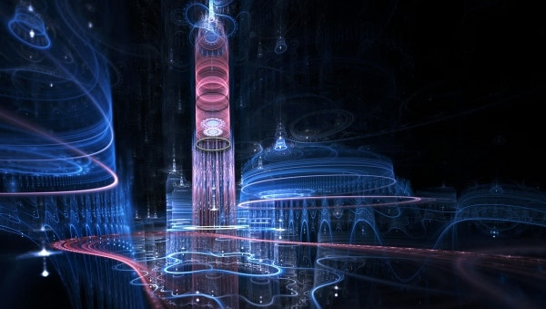 Fractal City Imagination Blue Sky Wallpaper Download