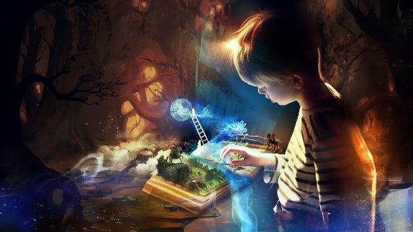 Boy with Book of imagination Wallpaper Download