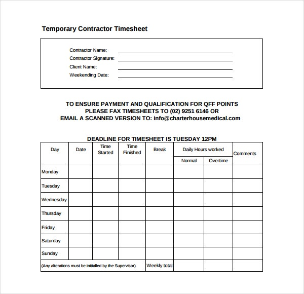 temporary contractor timesheet template download in pdf