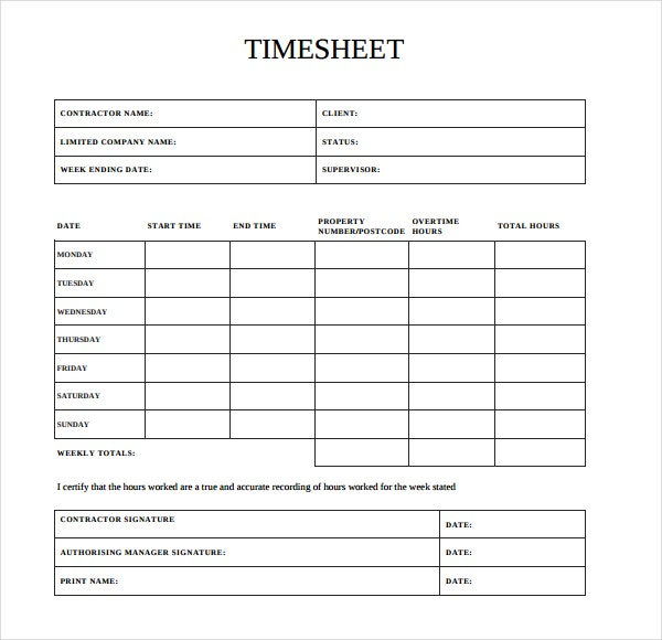 20 contractor timesheet templates free sample example for Order of subcontractors when building a house
