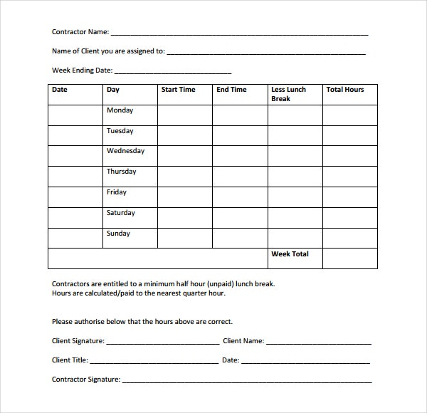Sub Contractor Timesheet Template PDF Download