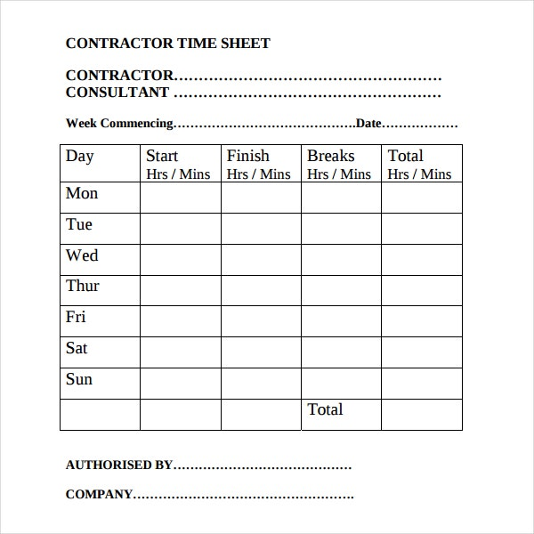 Contractor Timesheet Templates  Free Sample Example Format