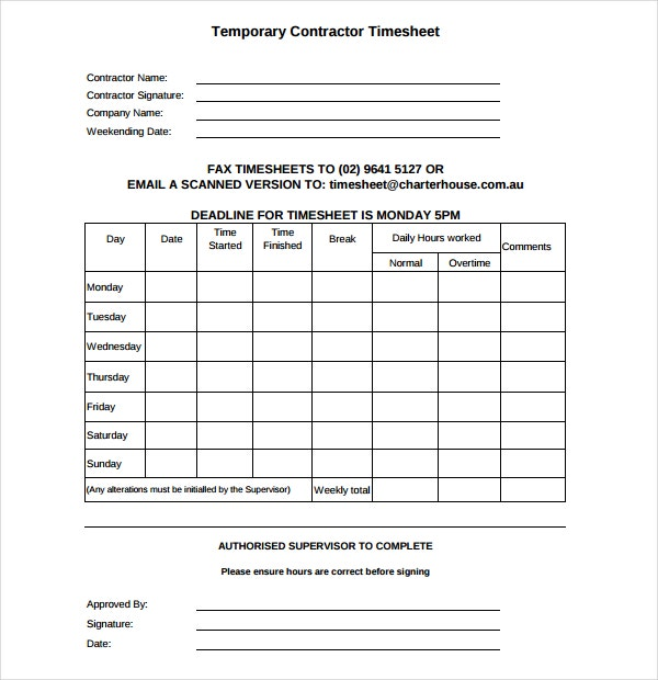 Temporary Contractor Timesheet Template in PDF