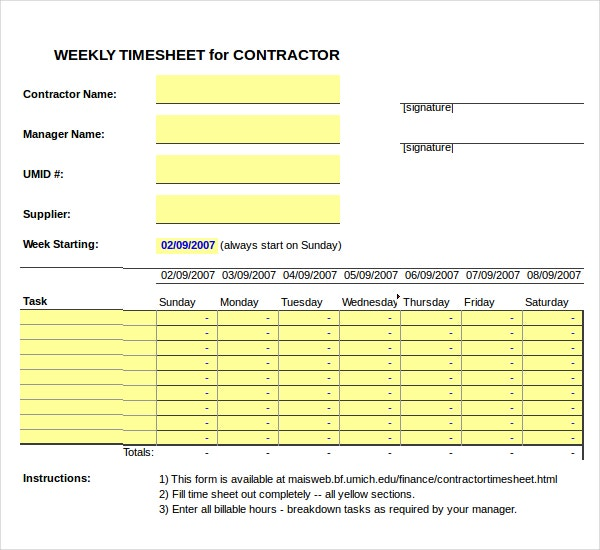 12 Contractor Timesheet Templates Free Sample Example Format – Time Sheet Templates