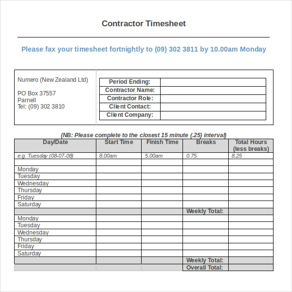 12 Contractor Timesheet Templates Free Sample Example