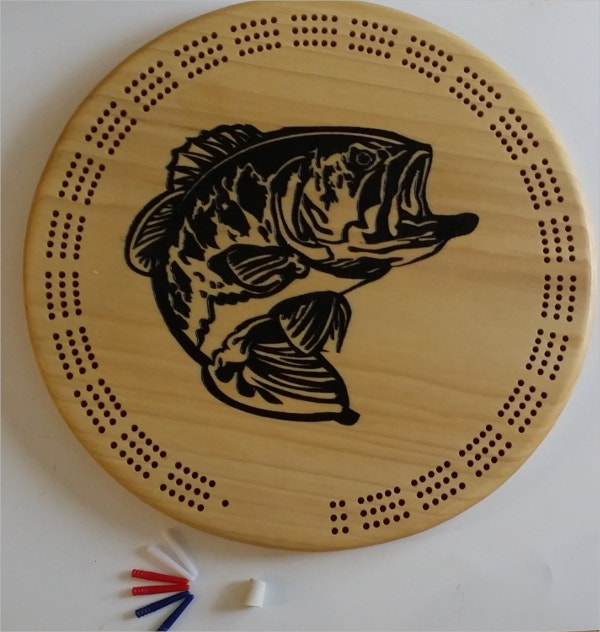 Fish Logo On Wooden cribbage Board