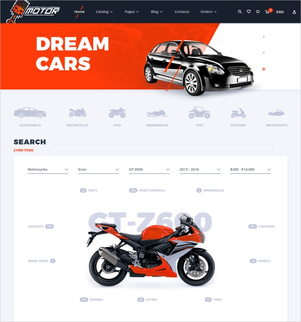 Responsive Motor Vechile HTML5 eCommerce Template