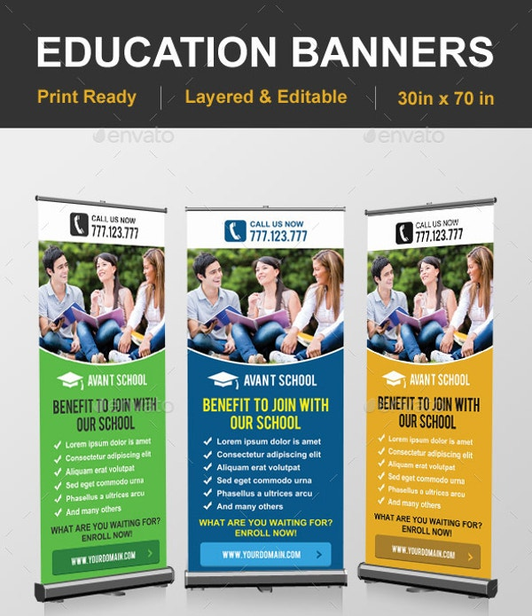 Professional Designed Rolling Education Banner Template Download in PSD Format