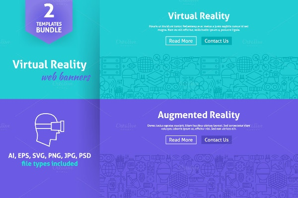 Bundle of Virtual Reality Line Web Banners