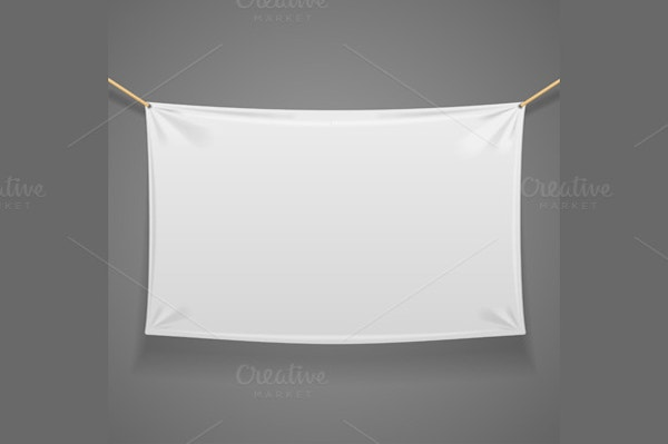 blanc fabric rectangular banner with ropes isolated on grey background