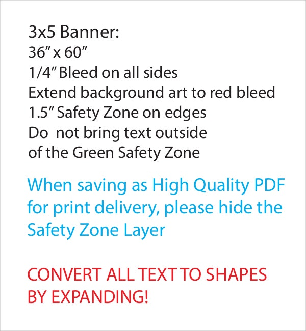 3x5 Banner Template Measurements Sample PDF Document