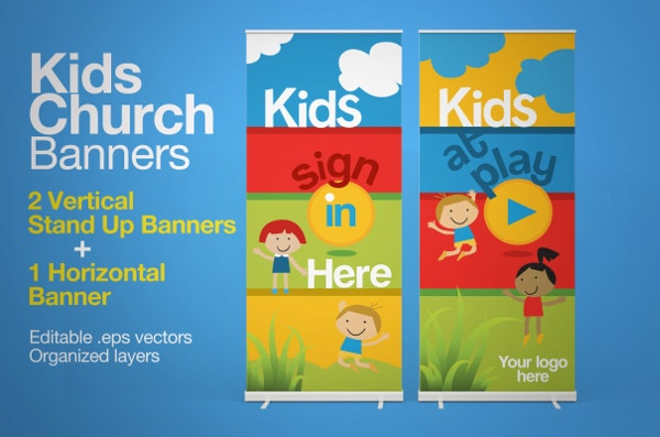 kids vertical sample banner template download