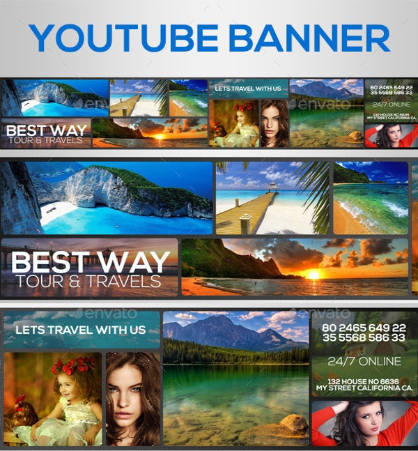 fully layerd youtube banner template psd format download