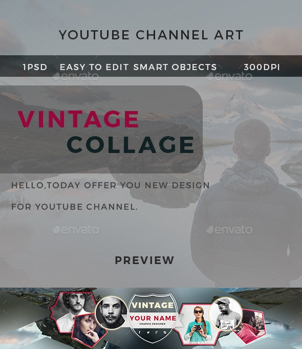 Creative Vintage Collage Banner of YouTube