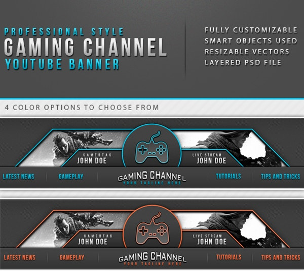Professional Styled Gaming Channel Youtube Banner Template Background