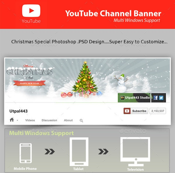 christmas youtube channel banner templates