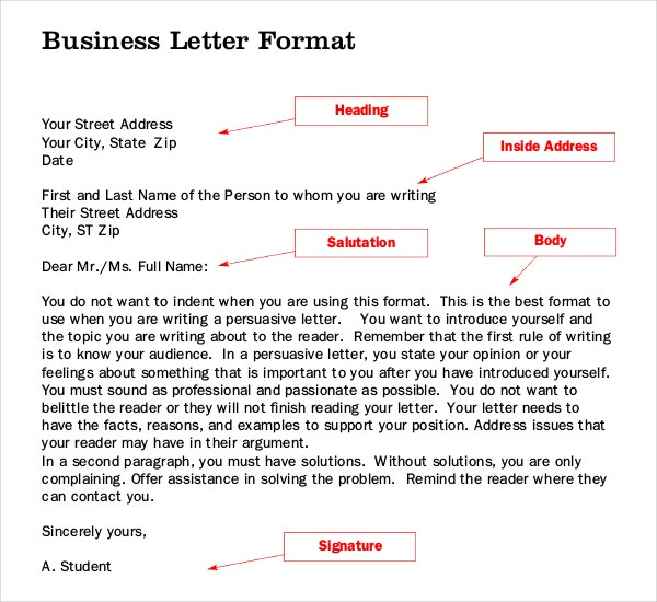 Business Letter Writing Template PDF Format Free Download