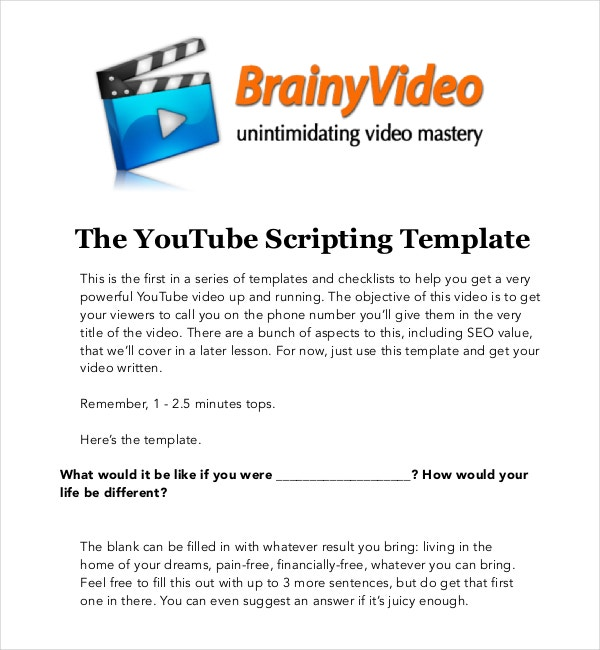 YouTube Scripting Template Free PDF Download