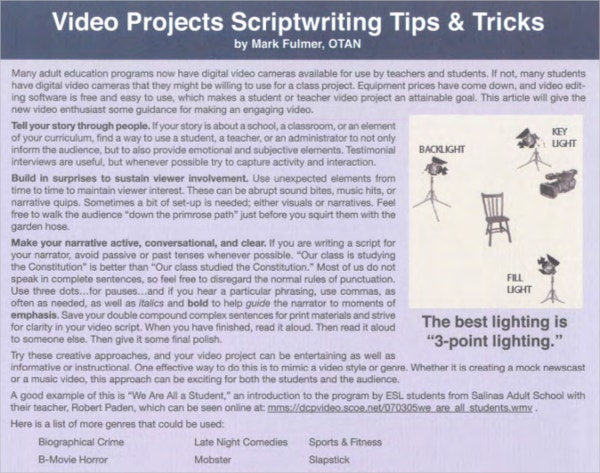 Video Project Script Writing Template PDF Free Download