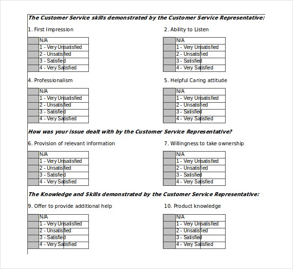 Customer Satisfaction Survey Excel Template Free Download