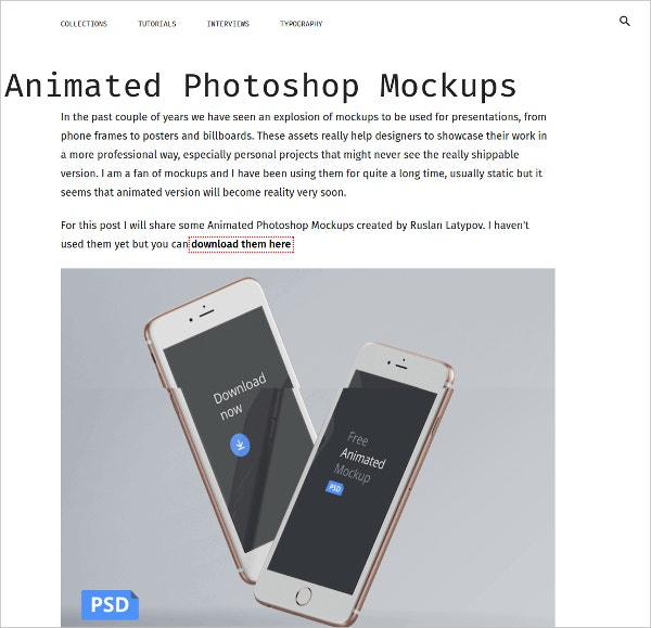 animated photoshop mockup for inspiration