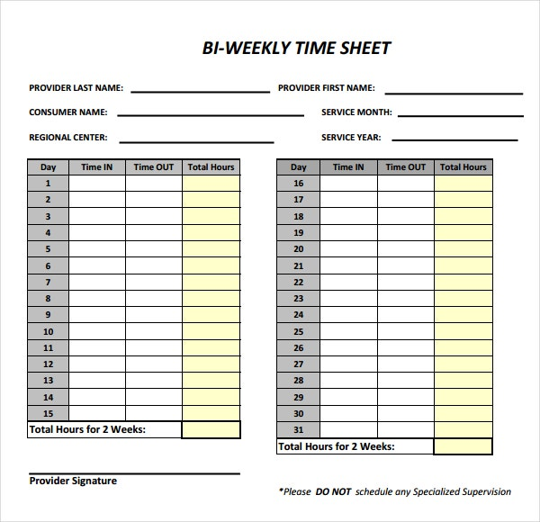 bi weekly timesheet template pdf format download