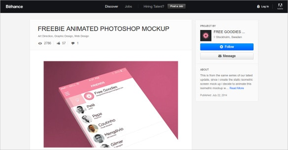 Behance FreeBie Animated Photoshop