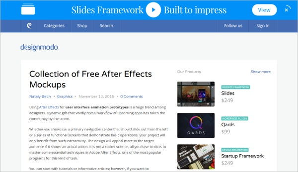 designmodo free after effects mockups