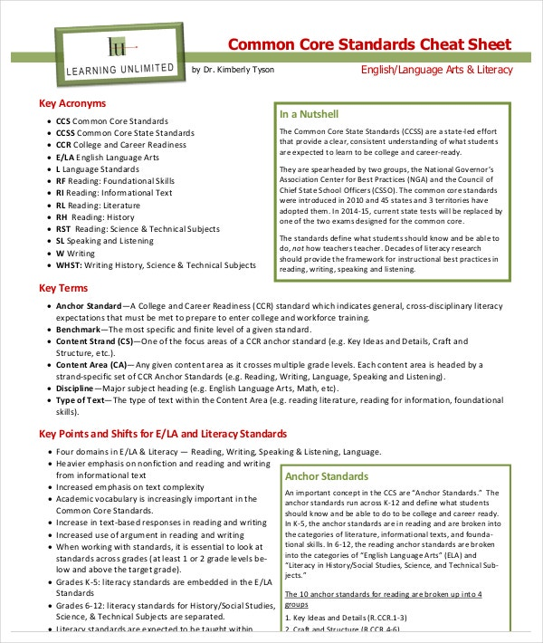 Simple Common Core Cheat Sheet PDF Format Download