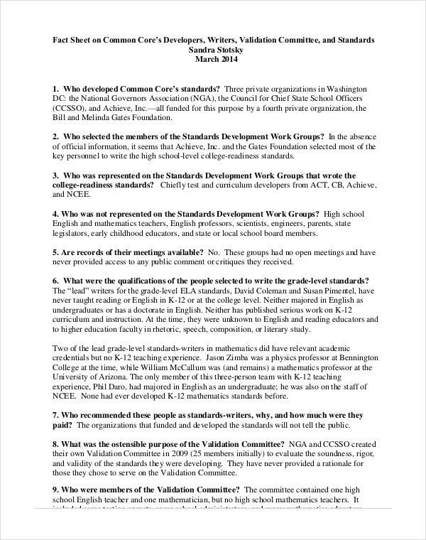 Simple Common Core Fast Sheet PDF Format Download