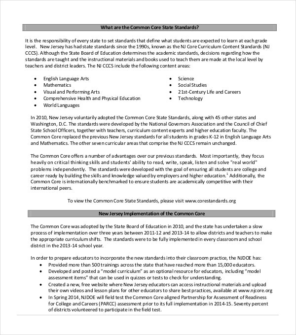Simple Common Core State Standards PDF Format Download
