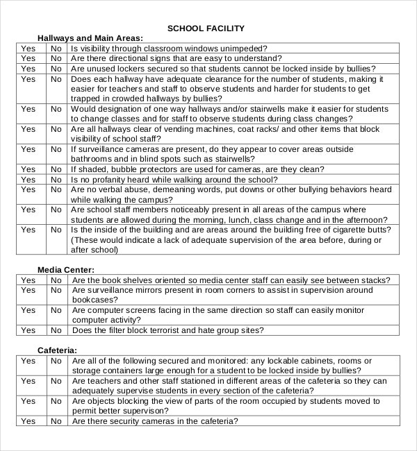 student school climate facility site survey pdf template