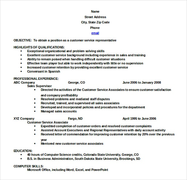 Resume Template in Reverse Chronological