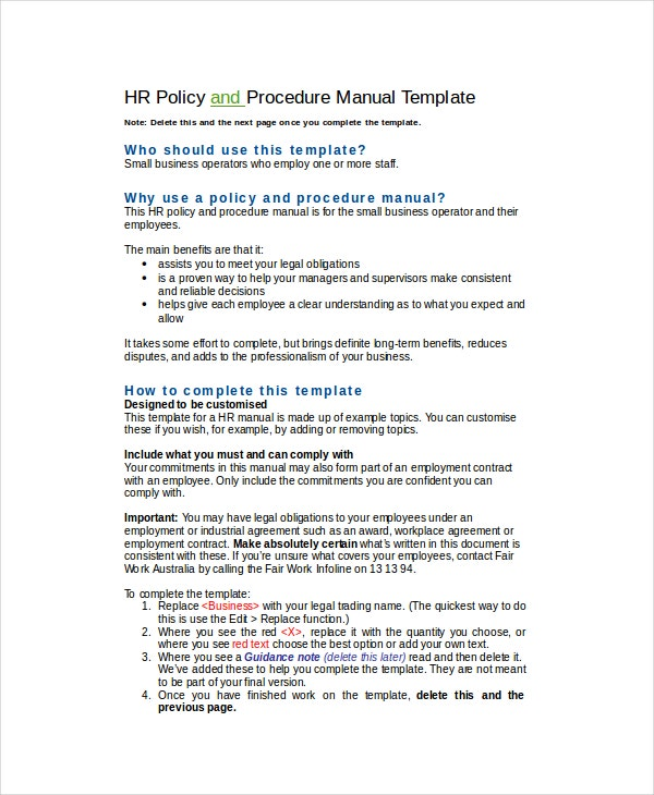 Hr policy template 17 free word excel pdf documents for Employee procedure manual template