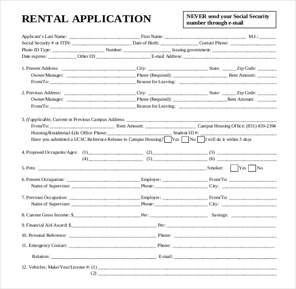 Rental application template 12 free word pdf documents for Housing application template
