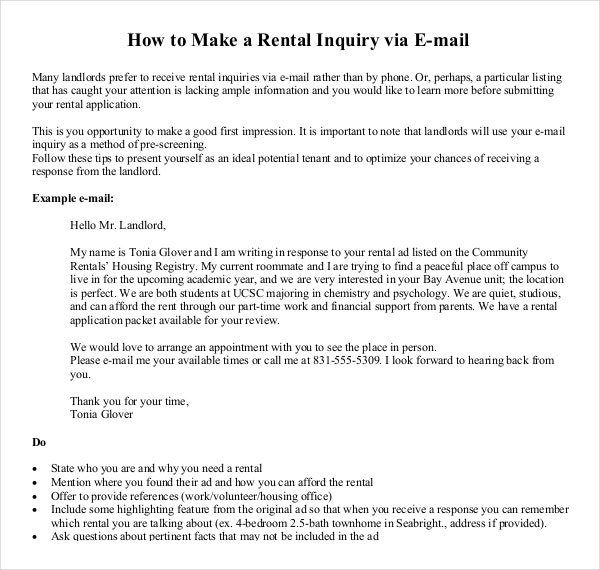 Rental Inquiry via Email