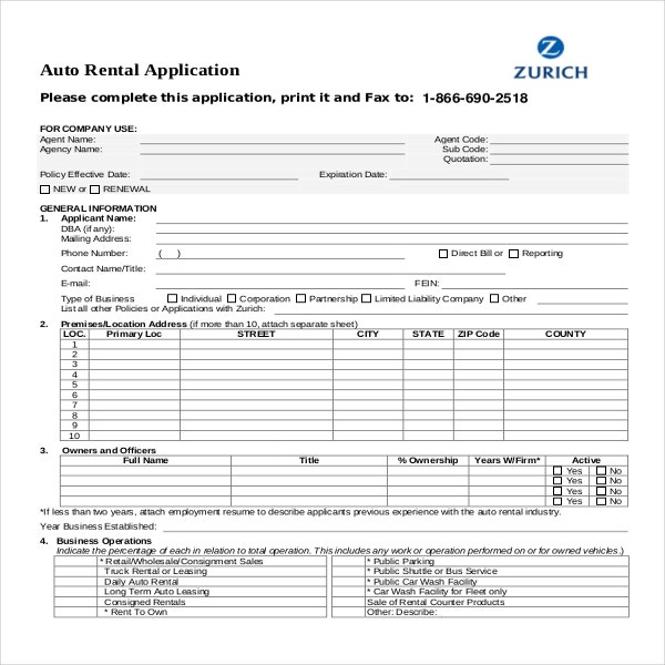 Rental Application Template 12 Free Word PDF Documents – Auto Rental and Lease Form