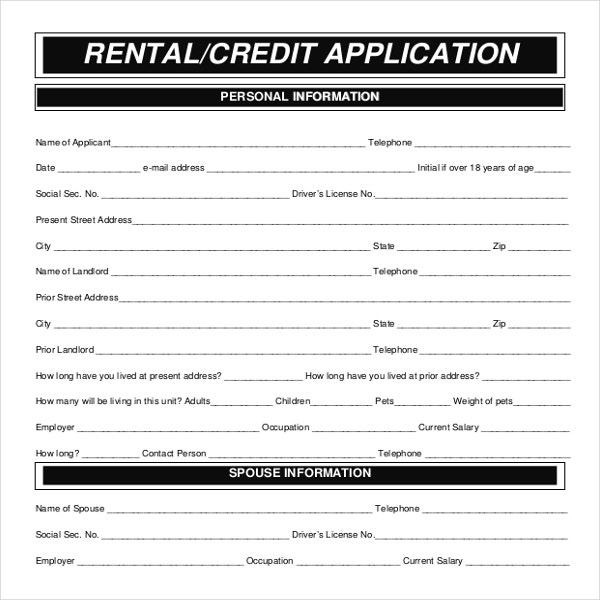 Rental application template 12 free word pdf documents for Credit applications templates
