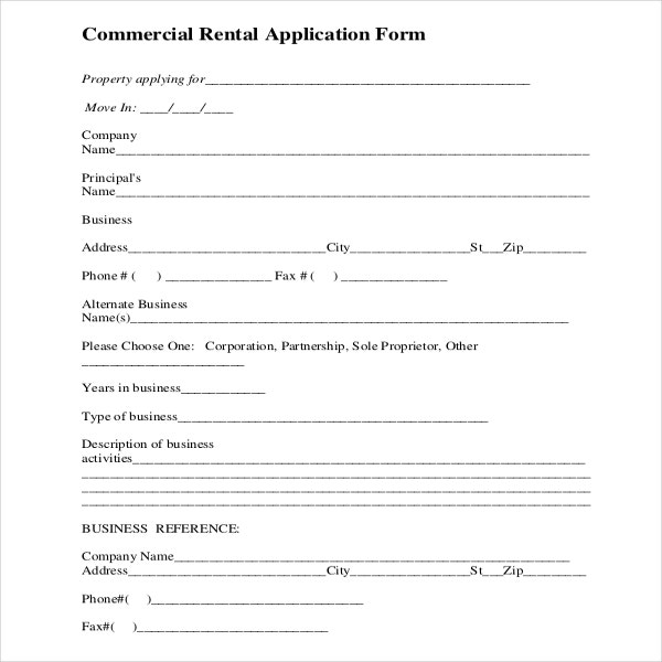 Rental Application Template   Free Word Pdf Documents
