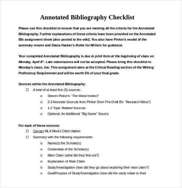 Simple Annotated Bibliography Checklist Word Document Download