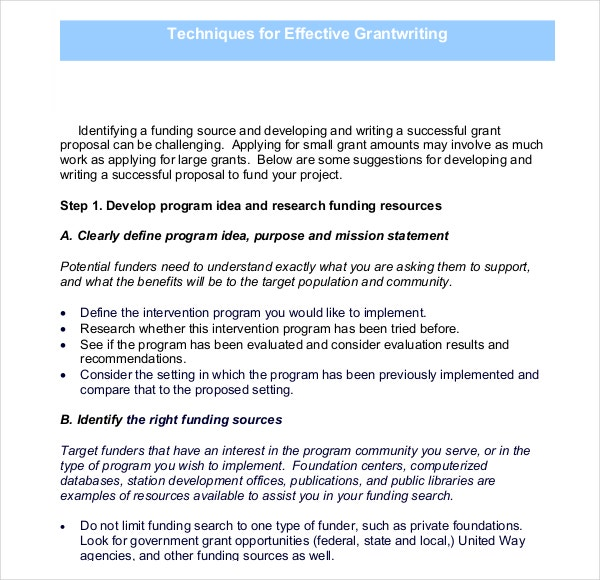 Techniques for Grant Writing Template