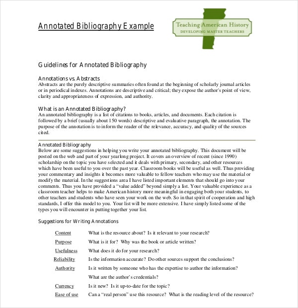 Teaching Annotated Bibliography Template Example Free Download