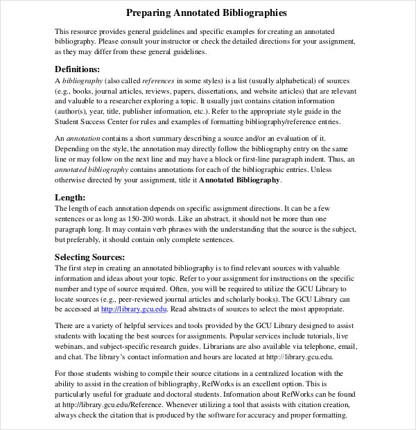Simple Praparing Annotated Bibliography Template Format