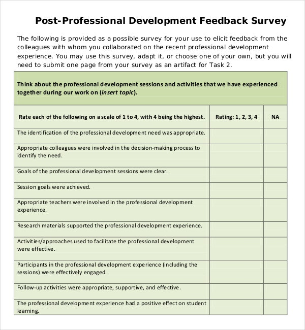 professional development feedback survey pdf template