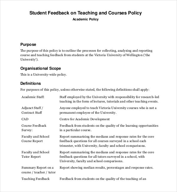 student feedback survey on teaching and courses policy
