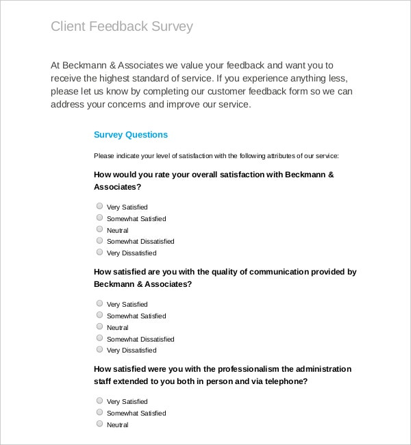 Feedback Survey Template   Free Word Excel Pdf Documents