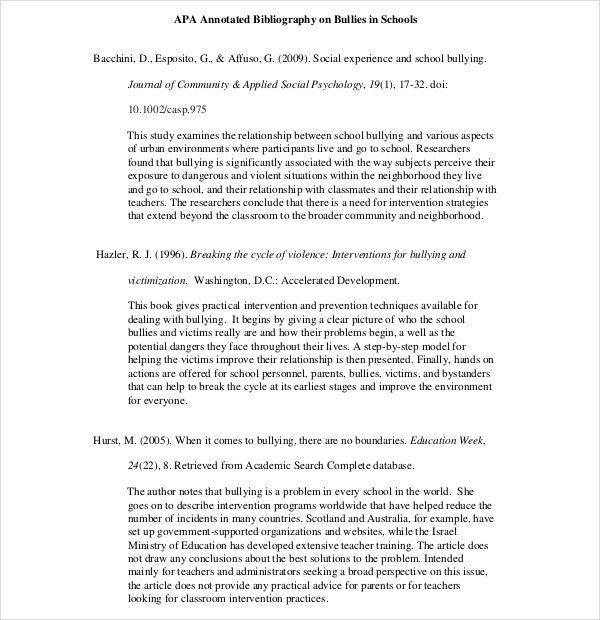 Teaching APA Annotated Bibliography Template PDF Download