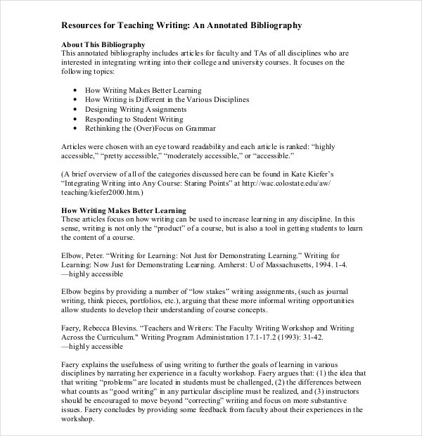 Writing of Teaching Annotated Bibliography Template PDF Format Free Download